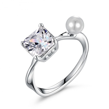 Creative Twist Arms Inlaid Four Claw Cubic Zirconia Woman's Ring With Pearl