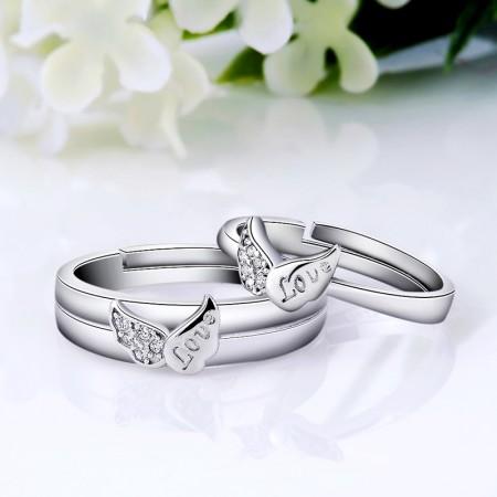 "925 Sterling Silver Creative Angel Wings ""LOVE"" Couple Rings"