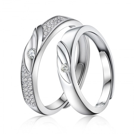 925 Sterling Silver Plated White Gold Adjustable Couple Rings