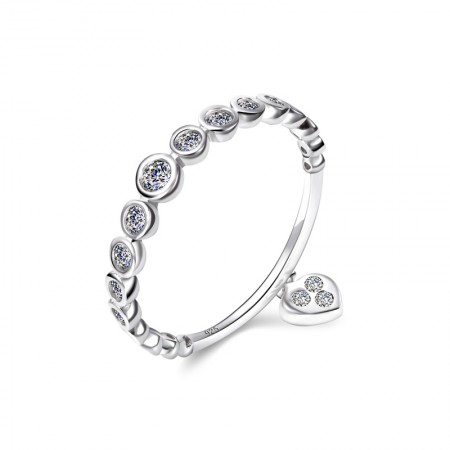 S925 Silver Inlaid Cubic Zirconia Love Embellishment Simple Ring