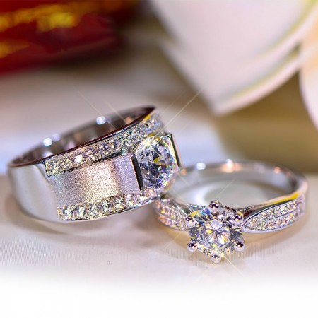Cost-Effective 925 Sterling Silver Inlaid 1ct Luxurious Shining Cz Couple Rings