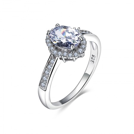 Classic Fashion 925 Silver Inlaid Oval Cut CZ Engagement Ring