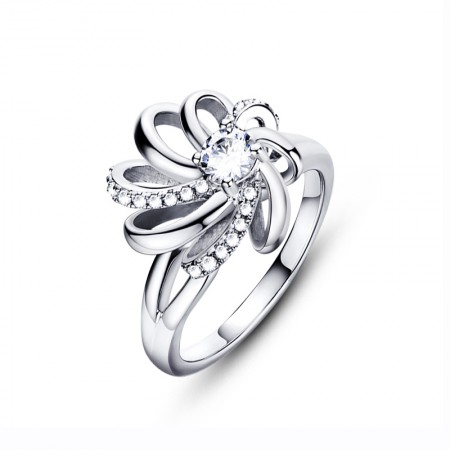 925 Silver Texture Bright Beautiful Flowers Opening Ring With CZ