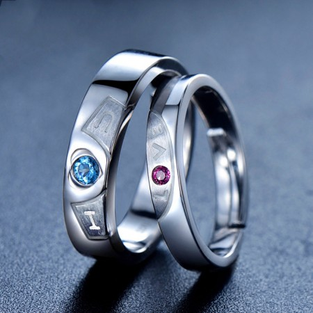 Exquisite Workmanship 925 Silver Inlay Natural Gemstone Opening Couple Rings