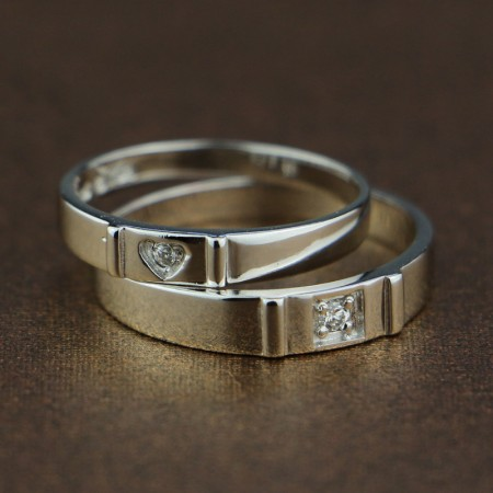S925 Silver Inlaid Cubic Zirconia Creative Hearts-To-Heart Couple Rings
