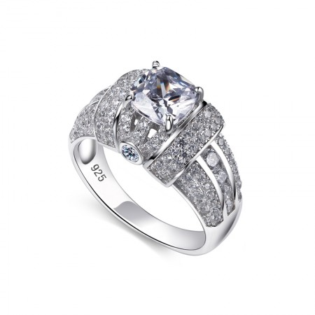 Ultra-Low Price 925 Silver Inlaid Luxury Cubic Zirconia Engagement Ring