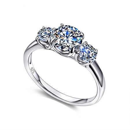 Korean Version Of The New 925 Silver Three-Cubic Zirconia Engagement Ring