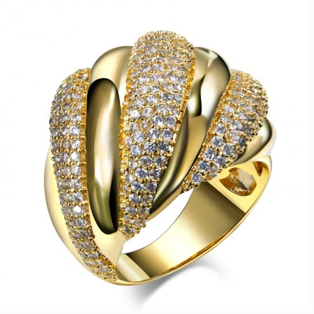 Europe Popular Exaggerated Copper Plated Gold Woman's Ring