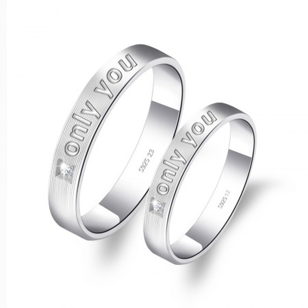"Elegant And Perfect 925 Sterling Silver ""Only You"" Couple Rings"