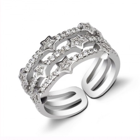 Full-Star 925 Sterling Silver Wide Version Of The Opening Ring For Woman