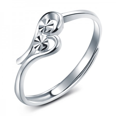 Stylish Cute Heart Shaped Adjustable Ring In Sterling Silver