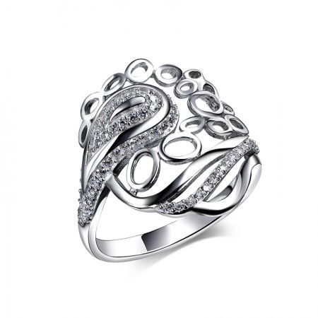 Hollow Smart Design 925 Silver Fashion CZ Ring For Woman