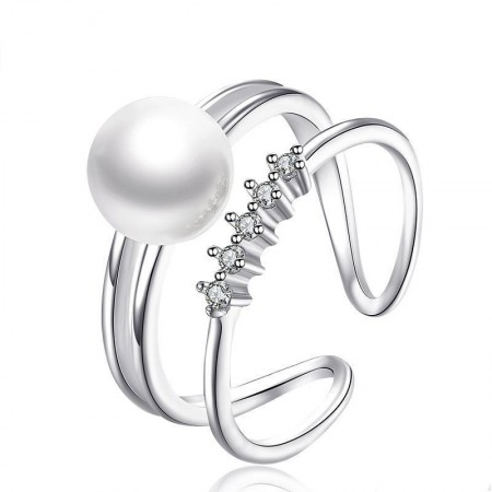Original Double Layer Natural Pearl With Four CZ 925 Silver Ring