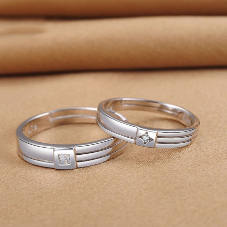 Superb Workmanship And Simple Lettering 925 Sterling Silver Couple Rings