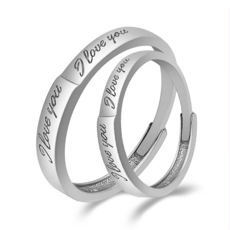 """Express Love """"I Love You"""" 925 Sterling Silver Opening Couple Rings"""
