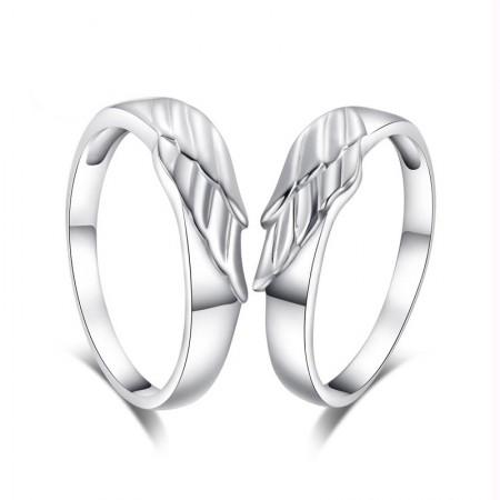 Romantic Angel Wings Pure Handmade 925 Sterling Silver Couple Rings