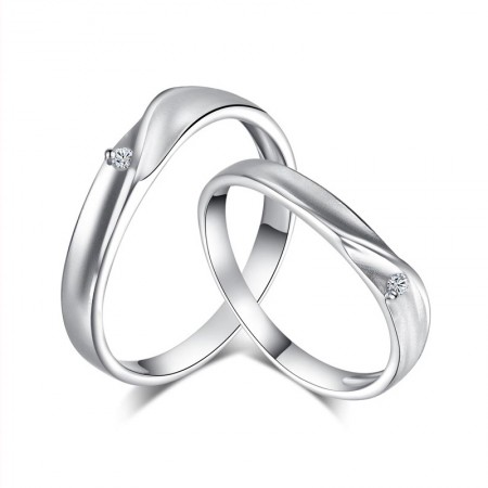 925 Sterling Silver Love Intertwined Graceful Lines Couple Rings