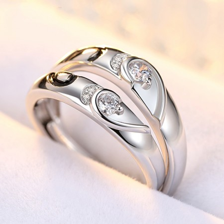 925 Silver Inlaid CZ Heart-Shaped Happiness Sweet Couple Rings