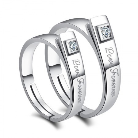 "Beautifully Gift ""Love Forever"" 925 Silver Couple Rings With CZ"