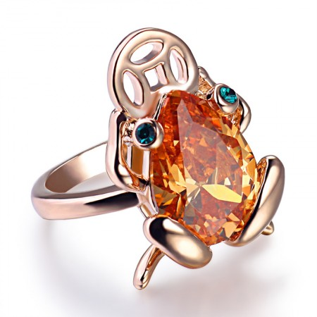 Cute Golden Toad Shape Alloy Inlaid Yellow Crystal Ring For Woman