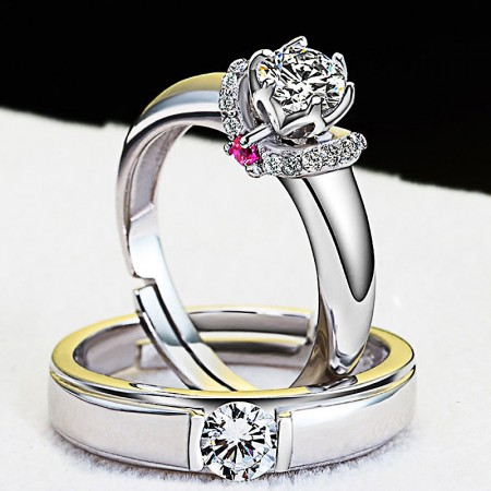 Brand New 925 Silver Romantic Elegant Opening Couple Rings