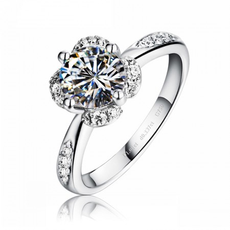 Gold-Plated Silver With Round Cut CZ Super Deluxe Engagement Ring