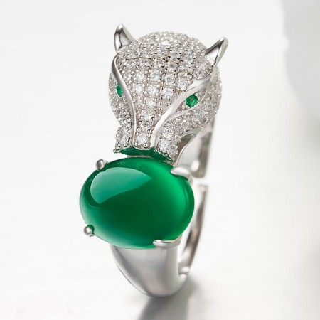 Domineering 925 Silver Inlaid Natural Green Chalcedony Leopard Shape Ring
