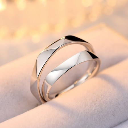 Original Multi-Section Cut Design 925 Silver Open Design Couple Rings