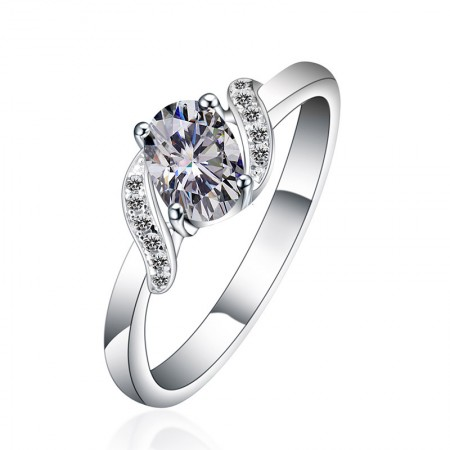 Perfect Craft Bright Fire Cubic Zirconia S925 Silver Engagement Ring
