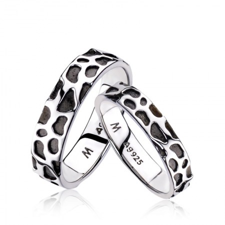 Wild Leopard Print 18k Black Gold Plated 925 Sterling Silver Lovers Couple Rings