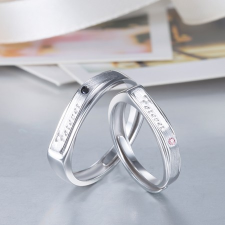 "Hot Sales ""Forever"" Theme 925 Silver Opening Couple Rings"