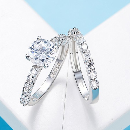 Exquisite Atmosphere 925 Silver Lettering Couple Rings