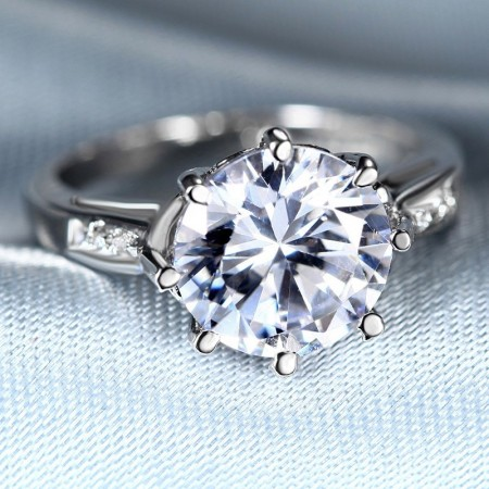 Classic Alloy Plated Silver Engagement Ring With Cubic Zirconia