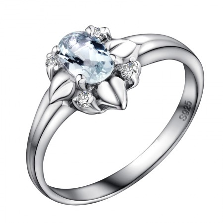 925 Silver Plated White Gold Inlaid With Natural Sapphire Ring