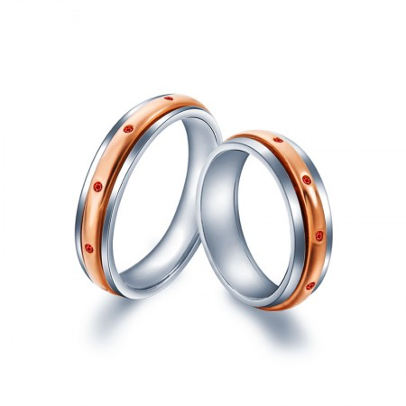 925 Silver Plated Rose Gold Inlaid Red Cubic Zirconia Couple Rings
