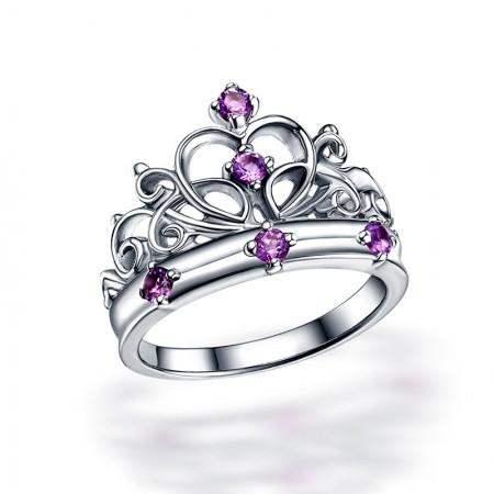 Hot Sale Retro Crown 925 Silver Inlaid Natural Purple Gem Ring