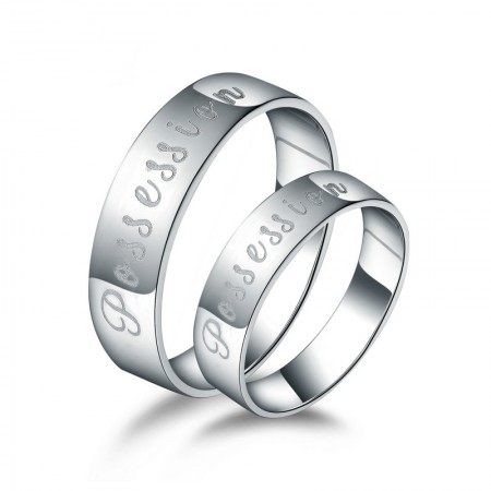 """New Simple Love 925 Silver """"Possession"""" Theme Couple Rings"""