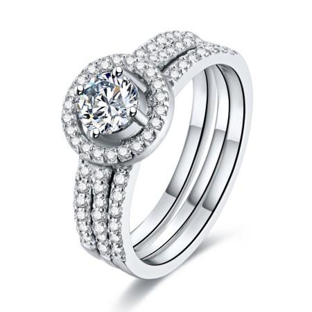 Original High-End Custom S925 Silver Inlaid CZ Engagement Ring Set