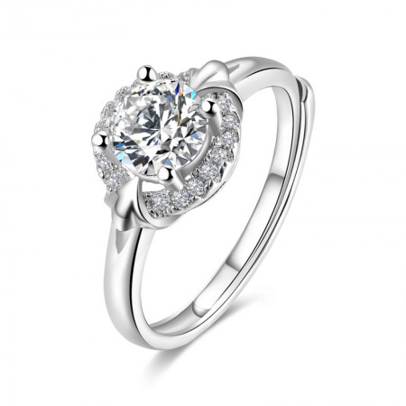 Sterling Silver Inlaid Round Cut Cubic Zirconia Engagement Ring
