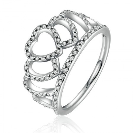 New S925 Sterling Silver Inlaid CZ Heart-To-Heart Crown Ring