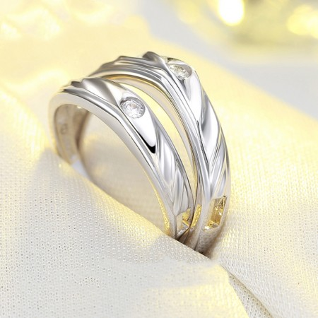 Exquisite Packaging Creative Lettering 925 Silver Couple Rings
