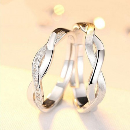 Beautiful Lines S925 Silver Inlaid Cubic Zirconia Couple Rings