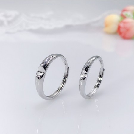 Simple Design Deep Love Heart-Shaped s925 Sterling Silver Lovers Couple Rings