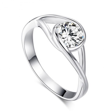 925 Silver Korean Fashion Simple Engagement Ring With CZ