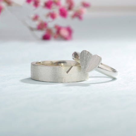 Handmade Original Design Of Love Sterling Silver Couple Rings