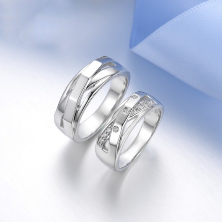 Original Mesh Design S925 Silver Romantic Couple Rings