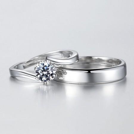 Exquisite Craft 925 Silver Elegant Temperament Couple Rings