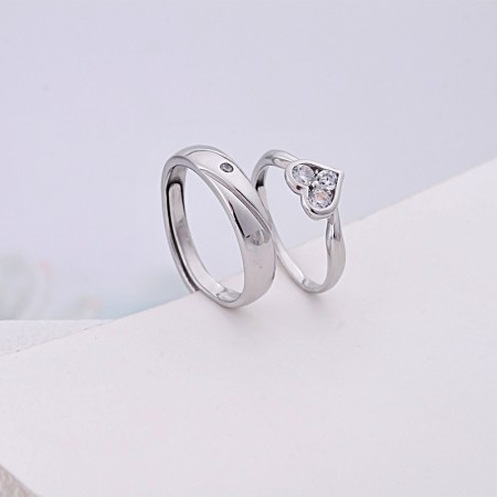 925 Silver Three CZ Heart-Shaped Simple Adjustable Couple Rings