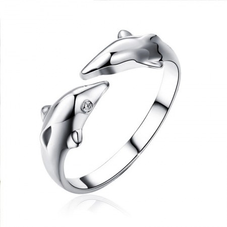 Cute Dolphin Shape Adjustable Woman's Ring In Sterling Silver