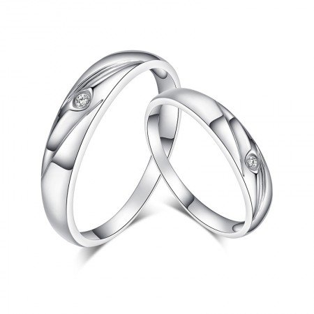 S925 Silver Inlaid Cubic Zirconia Simple Korean Couple Rings